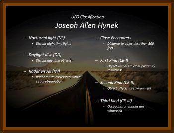 J. Allen Hynek's Scale Of UFO Classification
