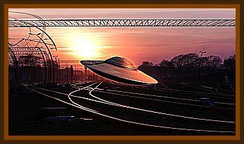 UFO Over Railroad Tracks