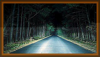 Lights Flying Low Across Road